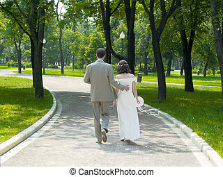 Walking couple in the park