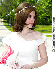 Beautiful bride at the park