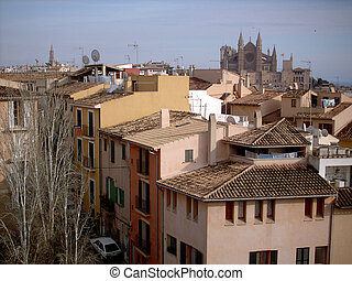Palma Cathedral over the roofs of the City