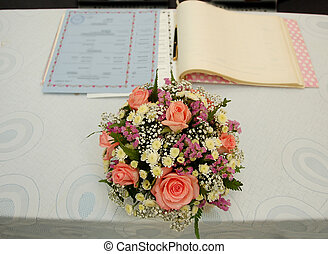 Wedding ceremony - table ready for signing ceremony in a...