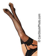 Sexy Legs - Women\\\'s legs in stocking and suspenders on...