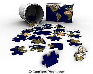 Puzzle Bucket World Map - 3d rendered image of a...