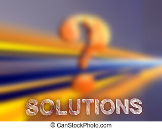 Questions, solutions - 3D background, illustration of a...