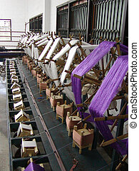 Weaving cloths - A factory weaving cloths