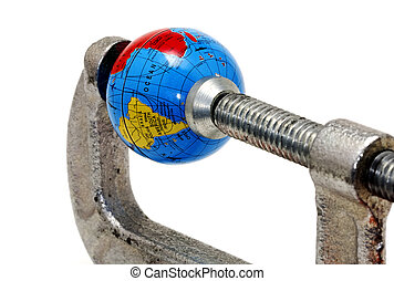 Global Crisis - Globe in a Clamp