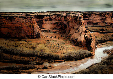 Canyon de Chelly on a stormy day