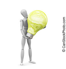 Bright idea - 3D render of someone holding a lit lightbulb