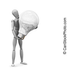Bright idea - 3D render of someone holding a lightbulb