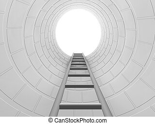 Climb the ladder - 3D render of a ladder leading upwards