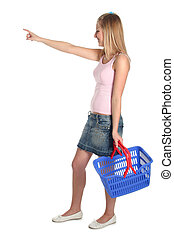 woman shopping - woman with shopping basket