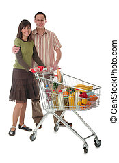 Couple shopping - Couple with shopping cart