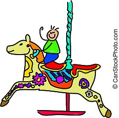 carousel kid - little boy on a carousel fairground ride -...