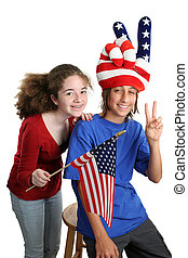 American Kids Vertical - Two teens celebrating American...