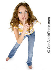 Shhhhhh - Beautiful young teen girl hushing at the camera.