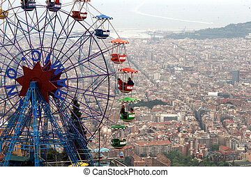 funfair in tibidabo Barcelona - colorful funfair wheel...