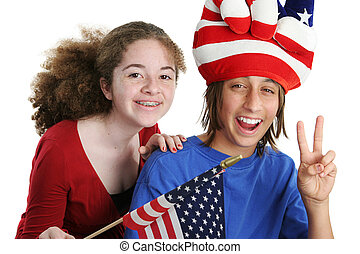 Patriotic Kids - A teen boy and girl wearing a patriotic hat...
