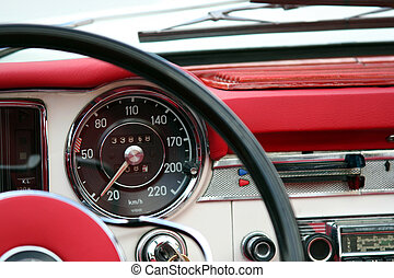 Vintage automobile dashboard detail