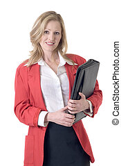 Confident business woman on white wearing red blazer holding...
