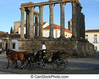 evora temple - Horse and buggy in front of Temple of Diana,...