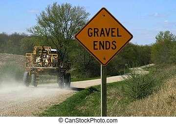 Gravel Ends Sign 2 - Iowa rural road, only usable when dry...