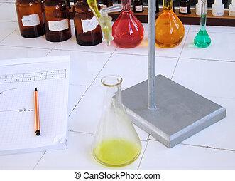 escola, Química, laboratório, escrivaninha