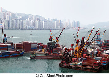 Port in Hong Kong - Ships in the port