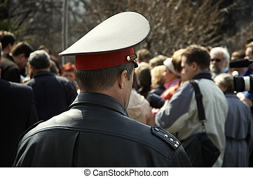 policeman on the mass-meeting - policeman