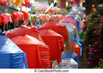 Lanterns at Bongeunsa temple in preparation for Buddha\\\'s...