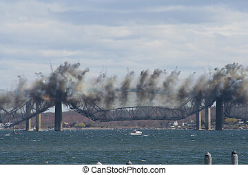 Bridge Demolition - The Center Span Falls toward the Water...