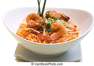 Shrimp Pad Thai - Traditional Thai delicacy made from jumbo...