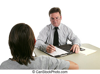 Guidance Counselor - Stern - A guidance counselor sternly...