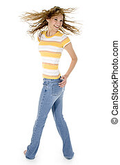 Jeans - Beautiful teen girl barefoot in jeans and yellow...