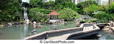 Park in Hong Kong - Park with a waterfall in Hong Kong
