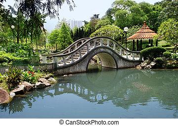 Park in Hong Kong - Park with a bridge in Hong Kong...