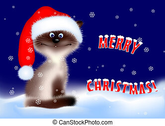 Christmas - Cat - Cat in Santa Hat Digital Illustration from...