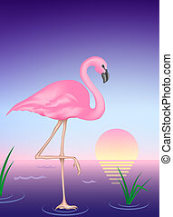 Flamingo - Digital Illustration from scratch. Gradient Mesh.