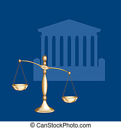 Scales - Legal - Scales of Justice. Digital illustration....