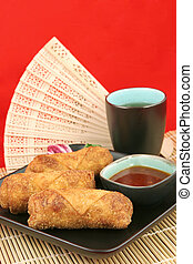 Egg Rolls & Tea - Copy space