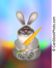 Rabbit With Carrot - Smiling rabbit holds big carrot...