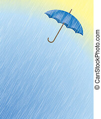Rain and UmbrellaRain and Umbrella - Digital Illustration...