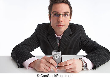 communication - businessman with mobile phone in his hands