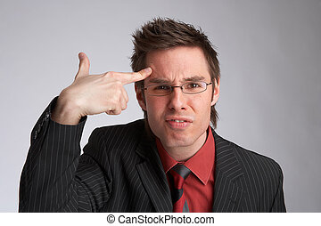 think - businessman shows shows  thinking sign