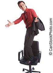 proud - businessman stands on chair