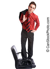 stand up - businessman stands on chair