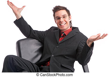 success - businessman spreading his arms for success