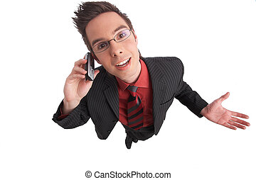 communicate - businessman talks on the phone with clipping...