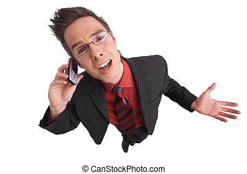 shout - businessman talks on the phone with clipping path...