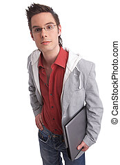 carrying - young man holding a notebook with clipping path...