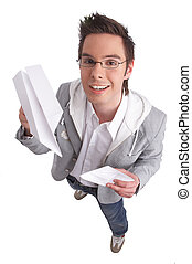 paperplane - young man playing with paperplanes with...