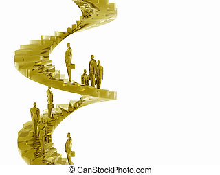 The corporate ladder. - Businesspeople on the corporate...